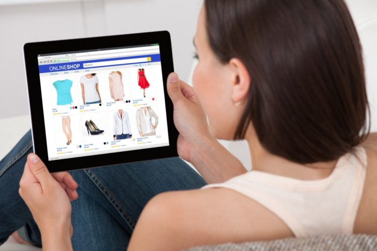 woman going through an ecommerce site