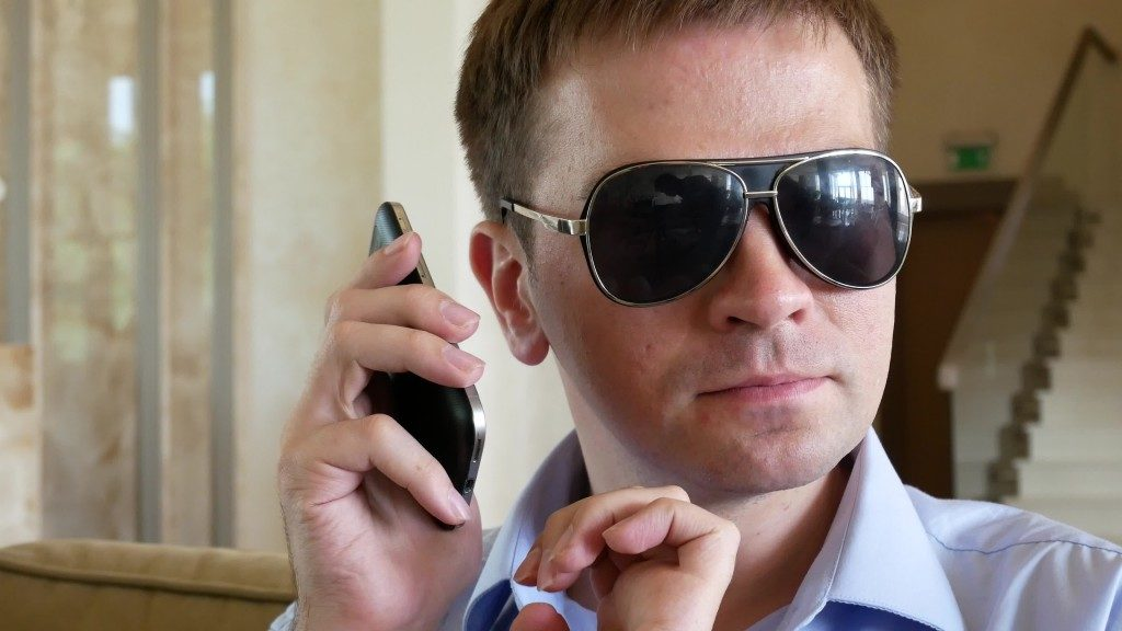 Blind Man With Disability Using Digital Assistant and Ease of Access Functions on Mobile Phone