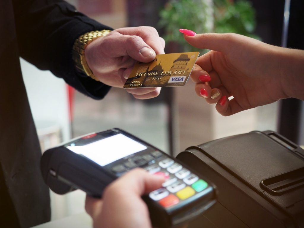 person purchasing using a card
