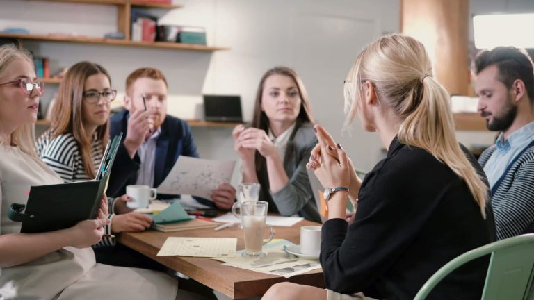 having a team meeting