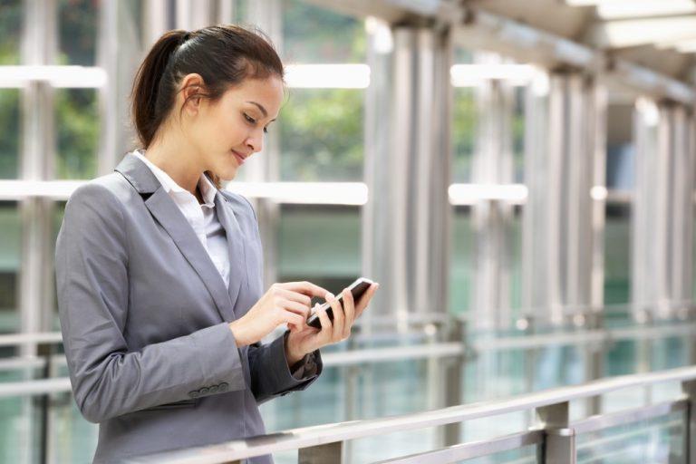 employee using smartphone